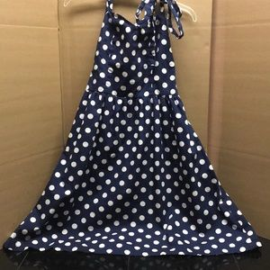 Polka dot, navy blue, 1950s styled dress.